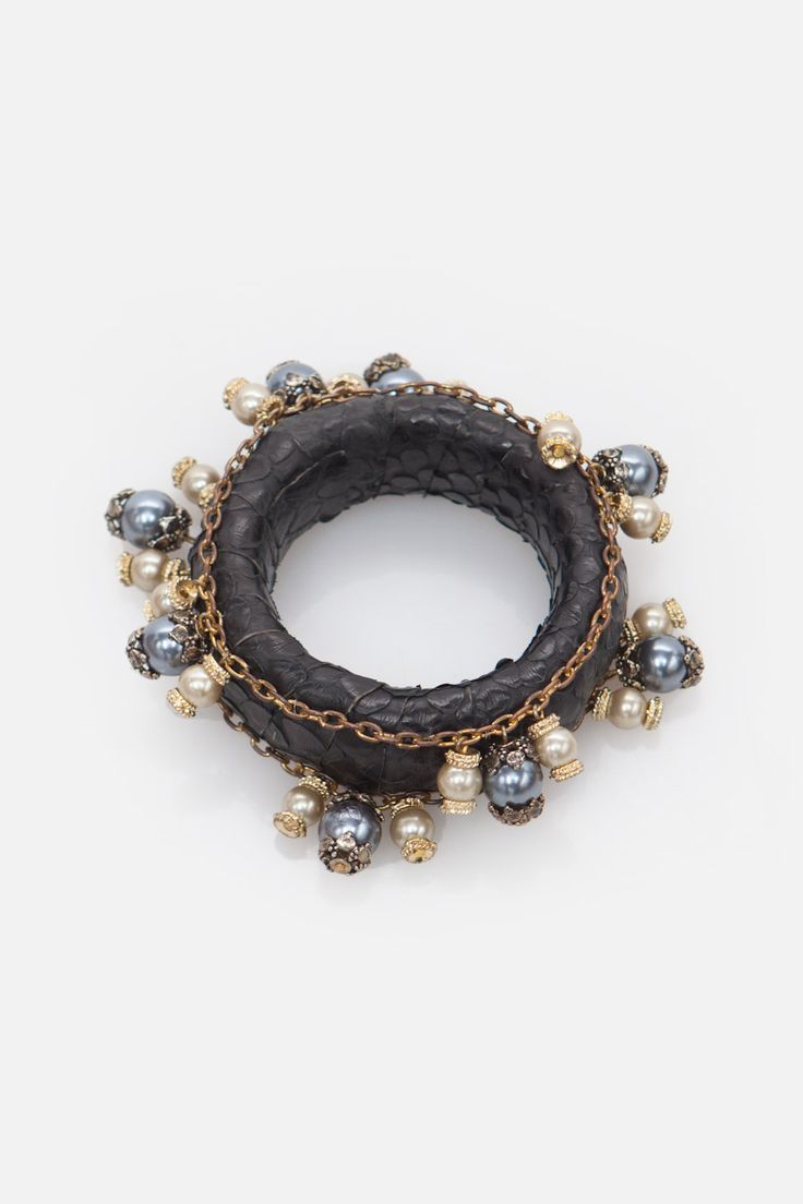 Black Python with Pearls Bangle