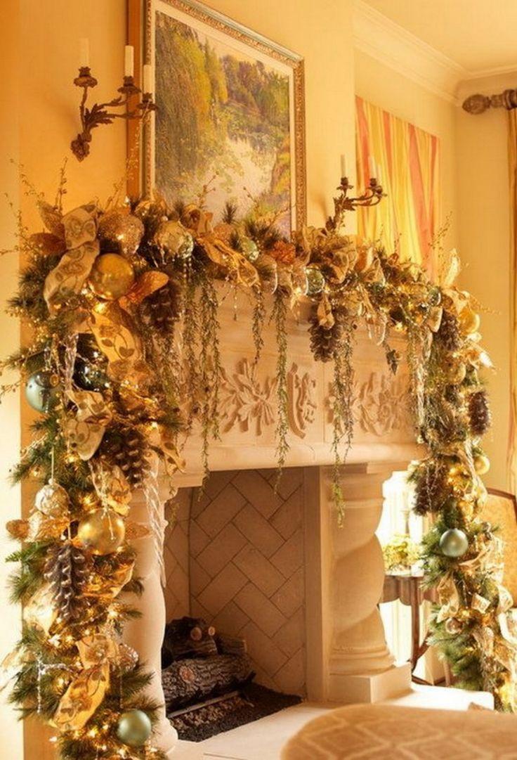 1251 best Christmas Mantels images on Pinterest   Christmas deco ...