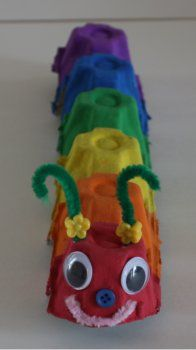 Rainbow caterpillar craft - egg carton, paint, googly eyes & pipe cleaners.