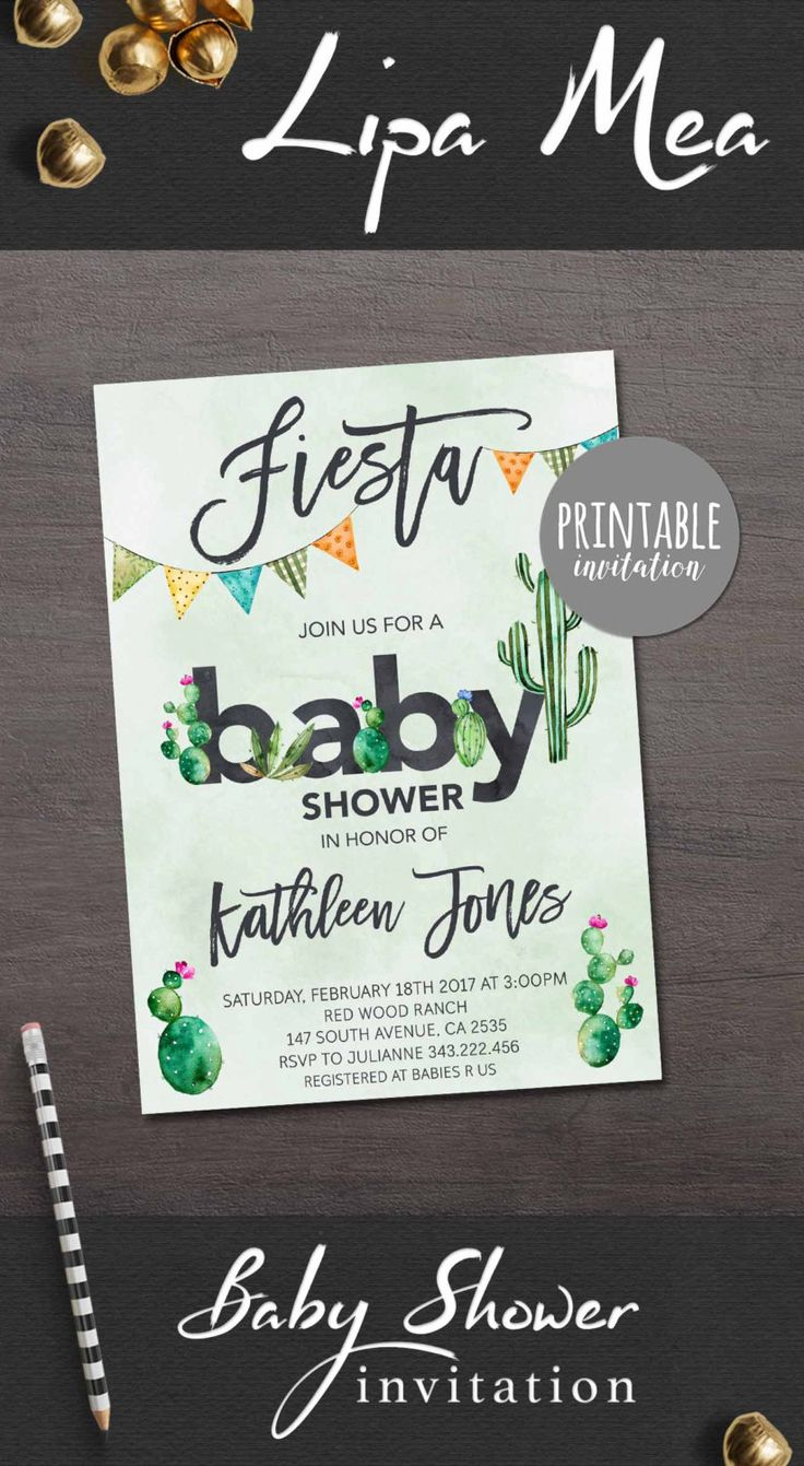 Fiesta Baby Shower Invitation, Cactus Baby Shower Invitation Printable, Mexican Baby Shower Invitation Boy, Printable Baby Shower Invite - pinned by pin4etsy.com