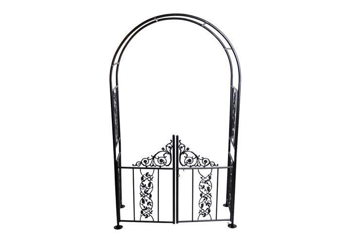 Rozenboog Pergola Poort 222 cm      Plaats de boog bij de oprit, de ingang van de tuin, de toegang tot de patio, prieel of als een bijzondere blikvanger en een ruimtelijke scheiding in je tuin.      Boog met deur in een prachtig ontwerp  Veel mooie detail - € 125,00