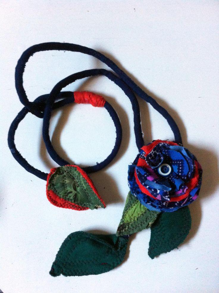 Fabric Necklace (Type2) *Season's flower*6- Creative Recycling collection-handmade-by GiuvaDesign di GiuvaDesign su Etsy