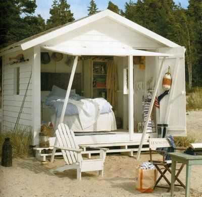 Adirondack and a writing table and chair.: Beaches Shack, Beaches Huts, Beaches Camps, Guest Houses, Beaches Houses, Modern Houses Design, Design Home, Small Cottages, Beaches Cottages