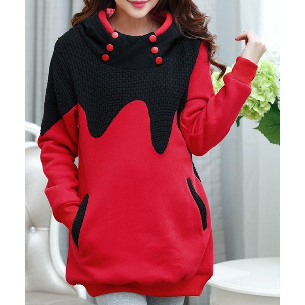 Stylish Hooded Long Sleeve Spliced Maternity Hoodie For Women