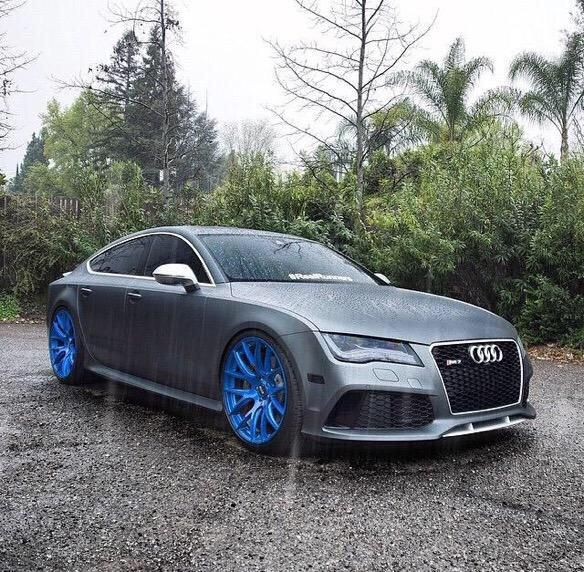 Grey Audi RS& With Blue Rims #Audi #AudiRS7 #COOLHOT_ROD