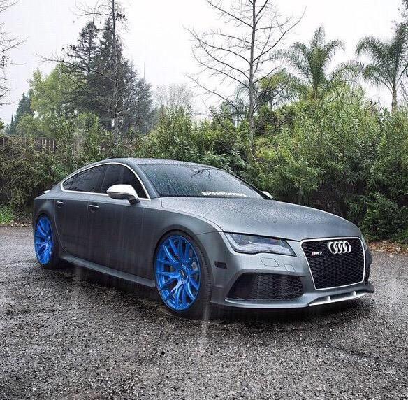 Grey Car: Grey Audi RS& With Blue Rims #Audi #AudiRS7 #COOLHOT_ROD