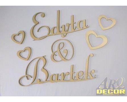 Imiona Nowożeńców, Pary Młodej (NA ZAMÓWIENIE) nr 55 Dekoracje Ślubne - ARQ - DECOR   Pracowania Dekoracji ARQ DECOR