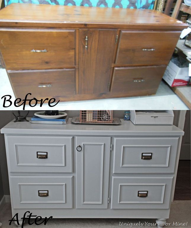 High Quality Checkout This Site For Great Before And After Furniture Updating Projects.  Fabulous Credenza Painted Grey With Bin Pulls Added!