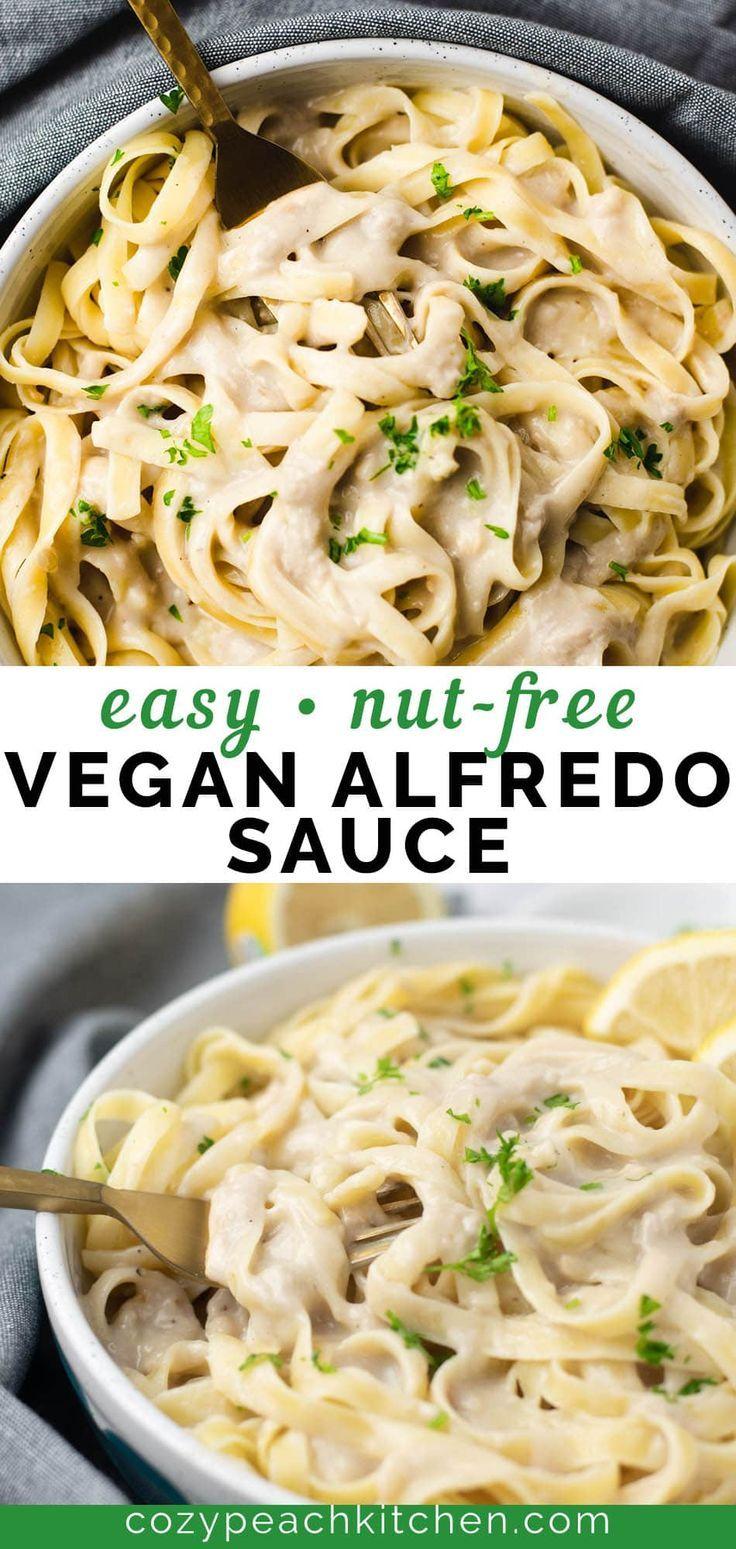 Vegan Garlic Alfredo Sauce Recipe In 2020 Dairy Free Pasta Vegan Alfredo Sauce Vegan Alfredo