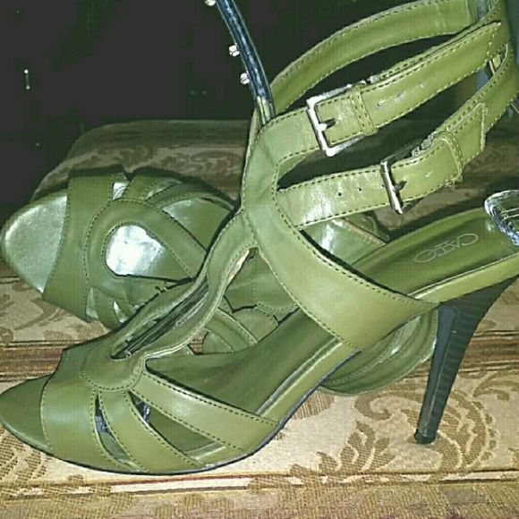 """Olive Green Strappy Heels 3""""Heel, double ankle straps. Very comfy and easy to walk in. Great condition. Worn about 3 times. Cato  Shoes Heels"""