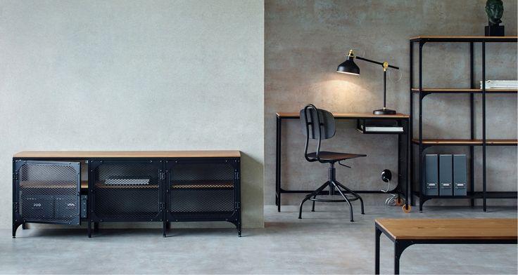 IKEA FJÄLLBO är förvaringsmöbler och bord i rustik industriell stil i rejäla material