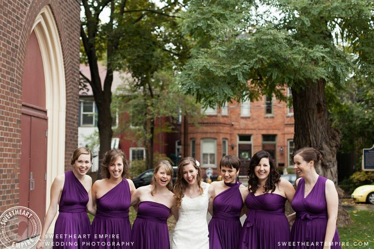 Mixed bridesmaids dresses, twist & wrap in purple > Sweetheart Empire » Wedding Photographer
