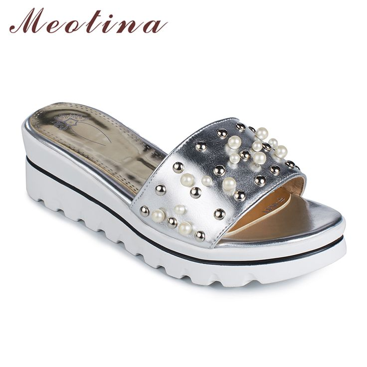 Meotina Women Sandals Summer Platform Sandals Platform Wedge Slippers Open Toe Rivet Ladies Slippers Gold Red. Click visit to buy #womensandal #sandal