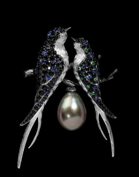 Mousson Atelier Brooch Lovebirds Blue Sapphires, Black Sapphires, Pearl and Tsavorites.