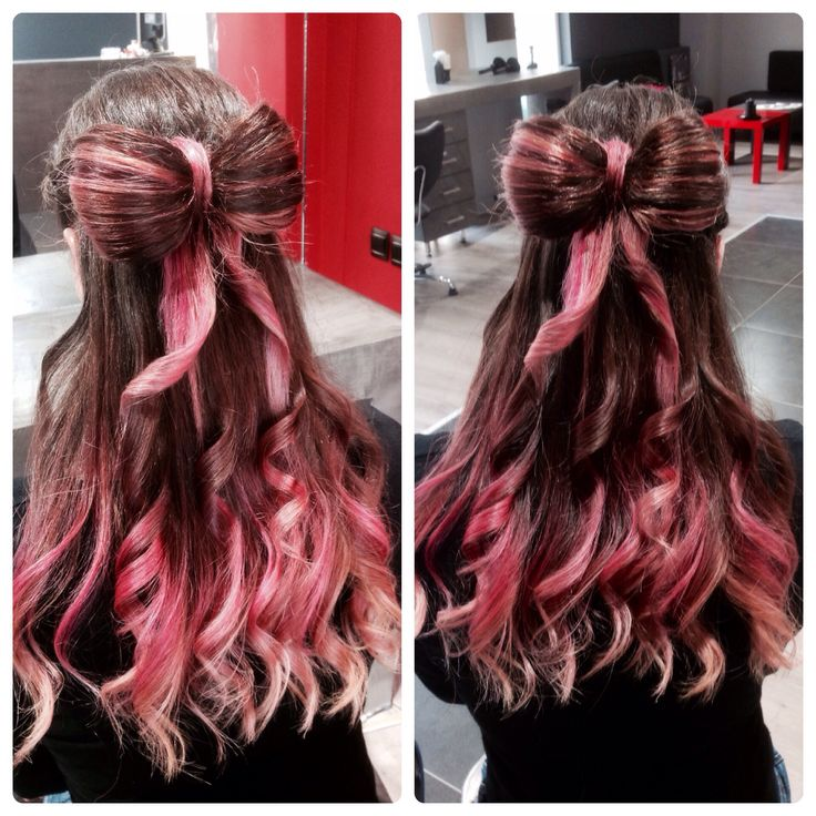 Colour...pink...bow.