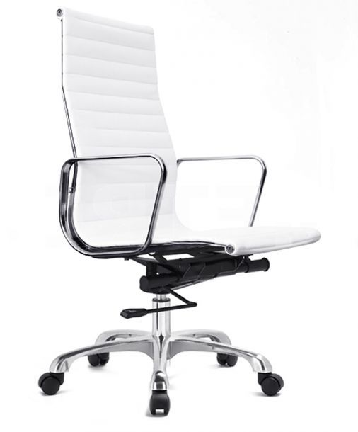 Ludlow High Back Rolling Office Chair In An Elegant White