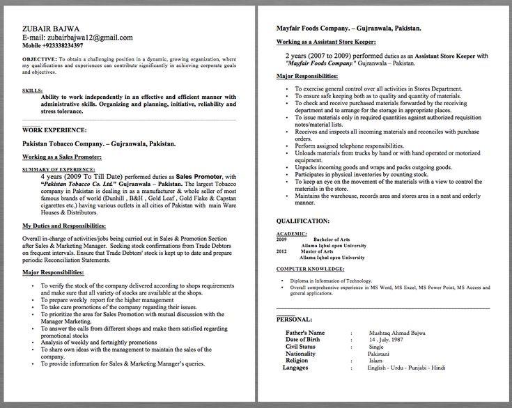 Assistant Store Keeper Resume Examples ZUBAIR BAJWA E-mail - barback resume