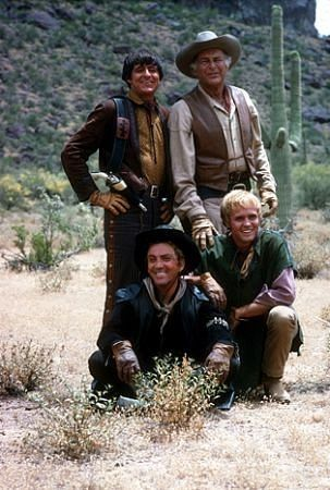 """High Chaparral, The"" Mark Slade, Cameron Mitchell, Leif Erickson, Henry Darrow 1968 NBCPhoto by Gene Trindl – © 1978 Gene Trindl – Image courtesy mptvimages.com"