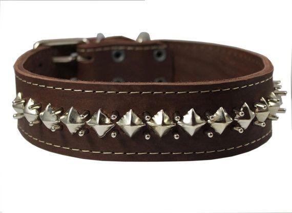 Latigo Thick Leather Studded Spiked Dog Collar by UltimateCollars, $39.90