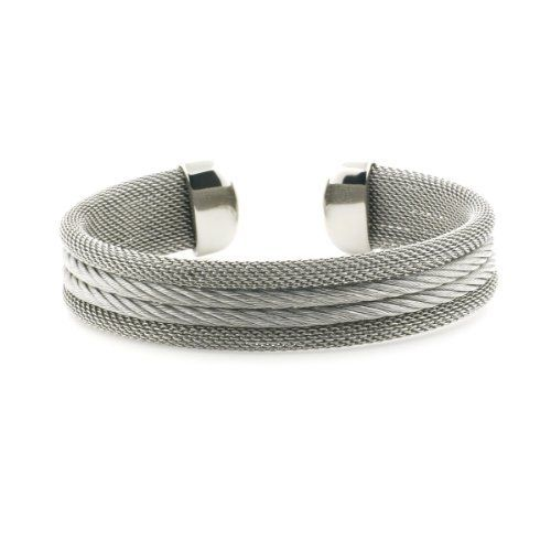 Ryssa Ladies Mesh Collection Cable Stainless 316L Steel Cuff Bracelet (14.5mm thick) Ryssa. $22.97. Beautiful, and elegant goes with any attire from casual, dressy and stylish.  Makes a great gift.. 316L mesh stainless steel, with highly polished ends for a rich, added cable gives a sophisticated look.. Popularly Sized, fits most Small to Mid Sized Wrists.. Thi mesh stainless steel bangle encompasses a middle cable.. Comes with a Bangle Gift Box, and velvet travel pouch