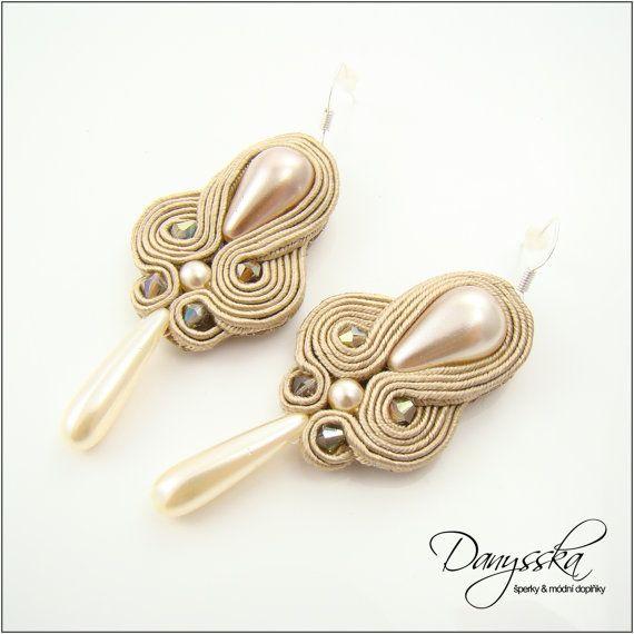 Beige Elegant Ball Soutache Earrings Silver Plated 256