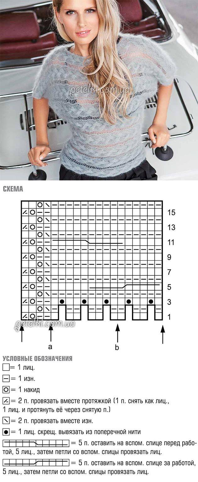 Пуловер косами, связанный поперек. Схемы, описание
