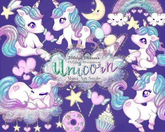 Purple Unicorn Faces Clipart Unicorns Clipart Purple | Etsy