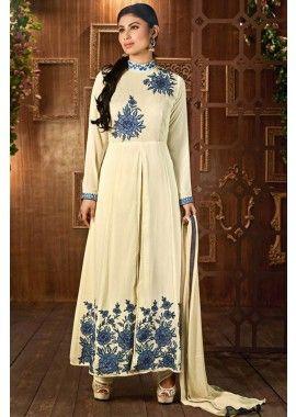 couleur crème georgette Anarkali costume, - 83,00 €, #LaModeIndienne #RobeIndien #TenueBollywood #Shopkund
