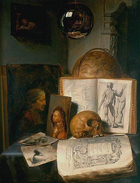 Simon Luttichuys, Vanitas still life with skull, books, prints and paintings by Rembrandt and Jan Lievens, with a reflection of the painter at work. 1635 and 1640