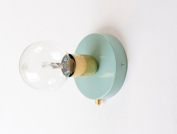 Brass Wall Sconce With 120mm Duck Egg Blue Wall Sconce And Button
