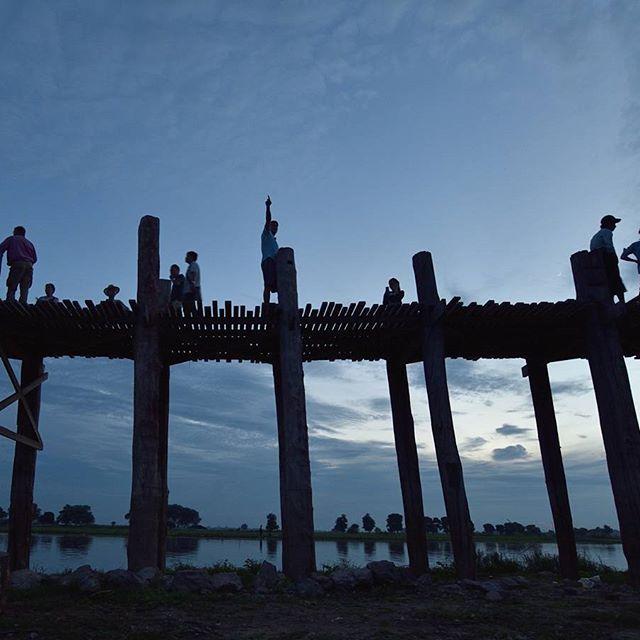 Dusk at U Bein Bridge in Amarapura township.  #AirAsia15 #TravelGr8 #Myanmar #Burma #UBeinBridge #UBein #Amarapura #Mandalay #bridge #longestteakwoodbridge #footbridge #travelblogger #traveling #travel #traveller #travelphotography #travelphotographer #Backpacking #backpackingmyanmar #backpacker #locals #NoFilter #dusk #silhouette