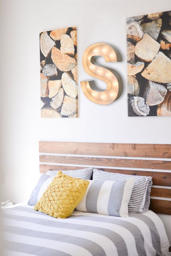 VINTAGE LETTERS - Illuminated bedroom lights - S - Perfect - Grey and yellow - Summer - Love it.