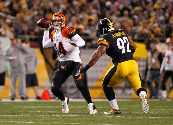 James Harrison closing in on the Bengals QB.