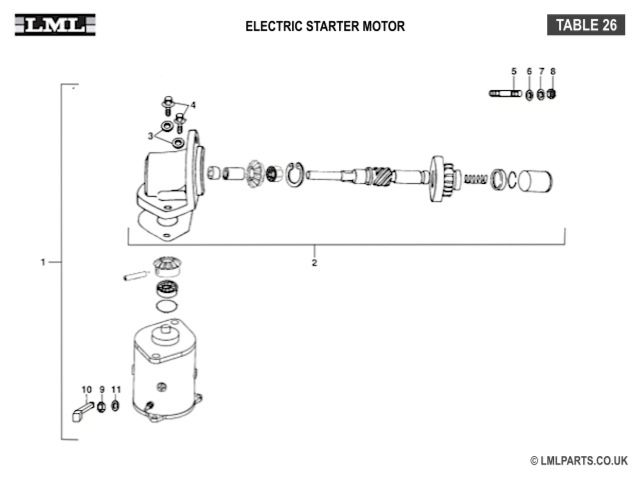 (26) - ELECTRIC STARTER MOTOR - Tasso LML Scooter Spare Parts