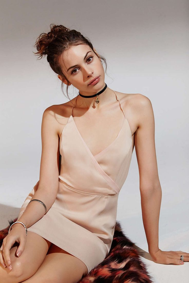 Nude Beige Pink KimchiBlue Wrap Mini Dress @ Urban Outfitters $70