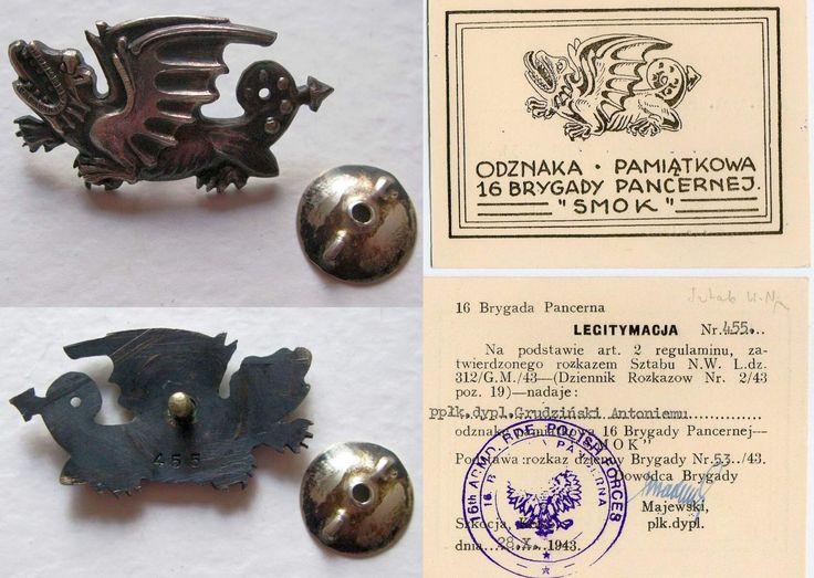 Polish 16th Armoured Brigade, legitymacja.
