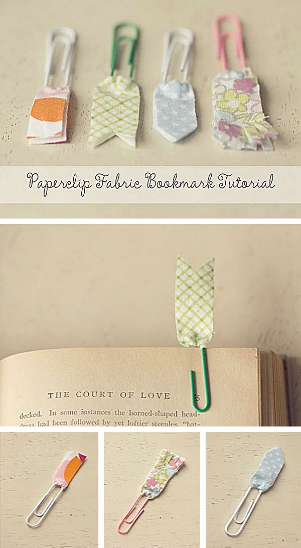 bookmarks using scraps of fabric and paper clips