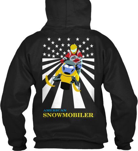 American Snowmobiler Black Sweatshirt Back