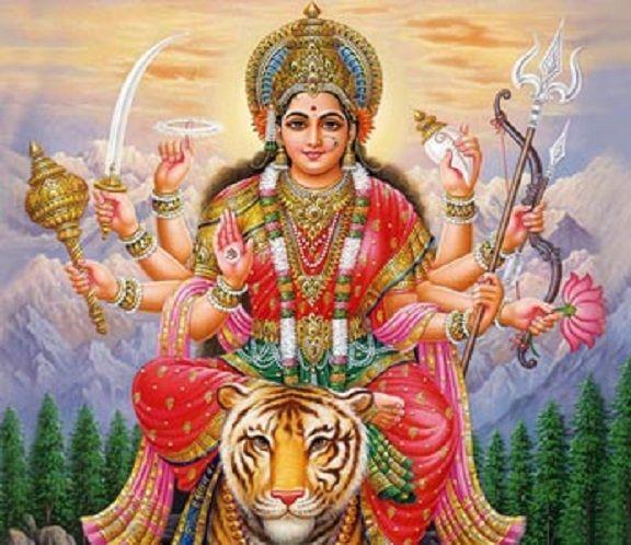Hindu goddess Devi with Tiger