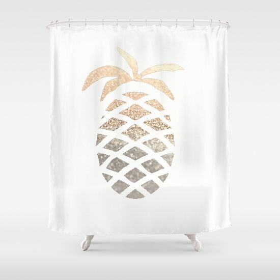 GOLD PINEAPPLE Shower Curtain by Monika Strigel | Society6
