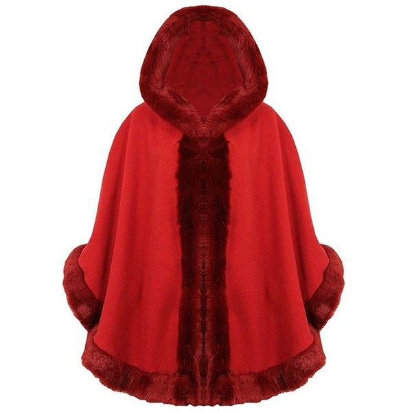 Style Fashion-womens Cape Poncho Celebrity Faux Fur Lined Trimmed at... ($20) ❤ liked on Polyvore featuring outerwear, red poncho, red poncho cape, style poncho, cape coats and poncho cape coat