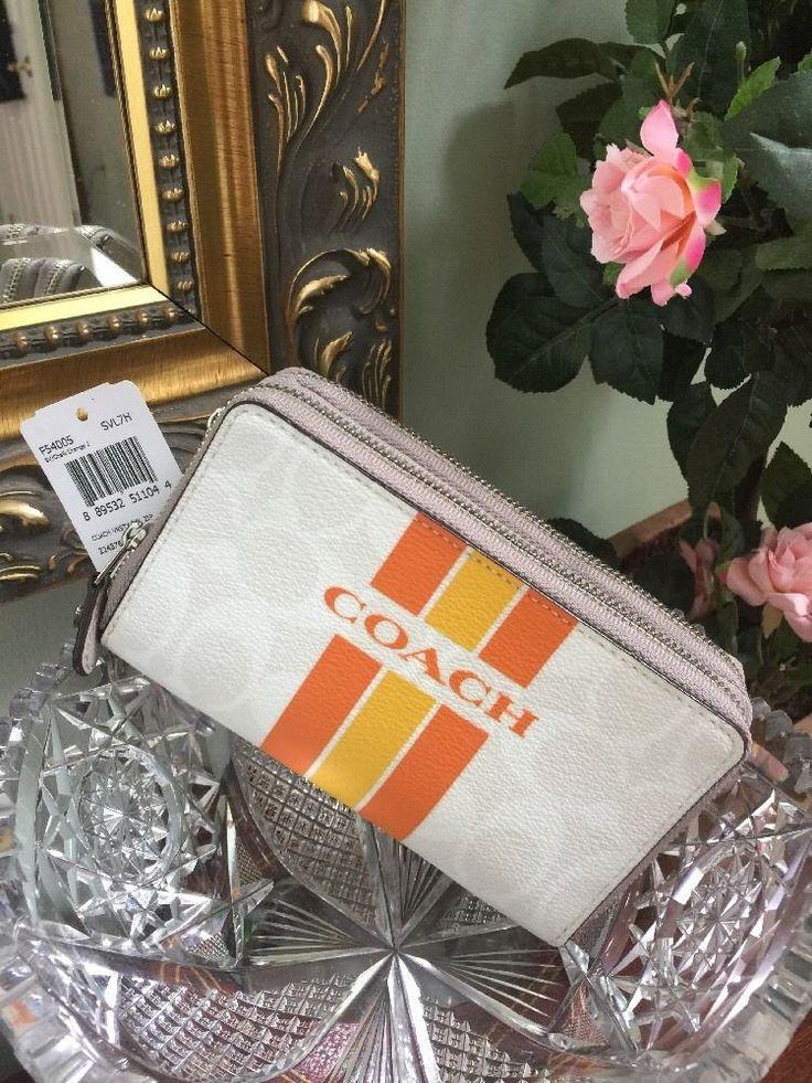 New Coach Phone Wallet Varsity Stripe Double Zip Chalk Orange F54005 $180 W26  | eBay