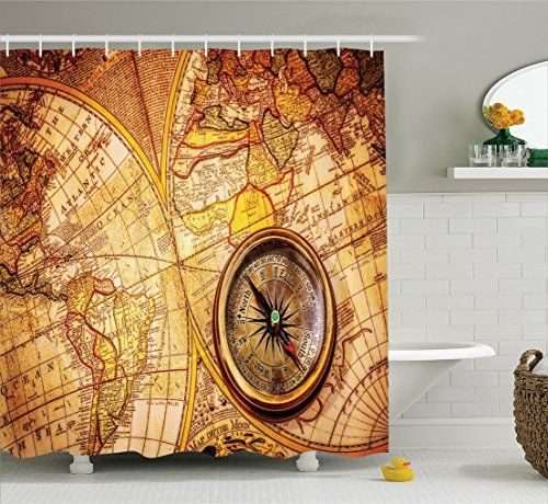 Antique Decor Shower Curtain Set By Ambesonne Compass On An Ancient World Map Historic Borders CenturyOld Antiquity  Bathroom Accessories 75 Inches Long -- Read more reviews of the product by visiting the link on the image.