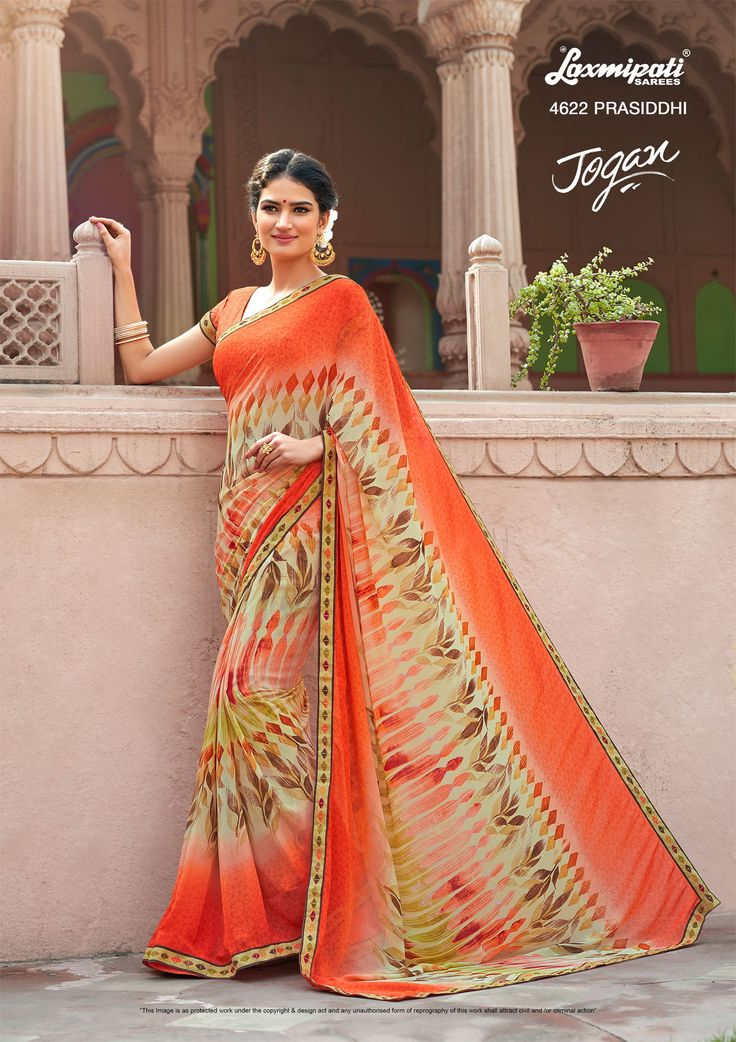 Browse this amazing multicolored #georgette designer #printedsaree with #Bhagalpuri lace border along with #unstitched_blouse #online from #Laxmipati_sarees. #Catalogue- JOGAN, Design Number:4622 #Price: ₹1458.00 #OrderOnline #JOGAN0317 #Laxmipatisarees #Cashondelivery #Freeshipping #Nayazamana #Fashion #Style #Happy #Weekend #Masti