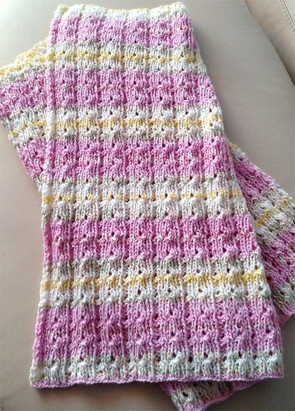 Padrão de confecção de malhas gratuito para reversível 4 Row Repete Baby Blanket - Este 8 ...