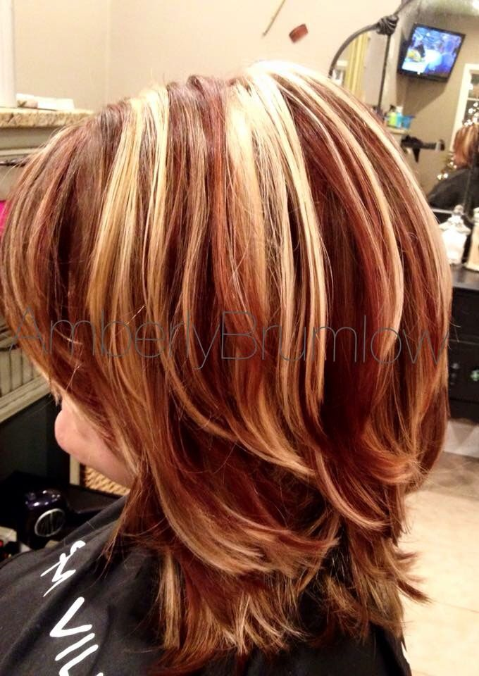 Red Lowlights Highlights Hair By Amberly Brumlow