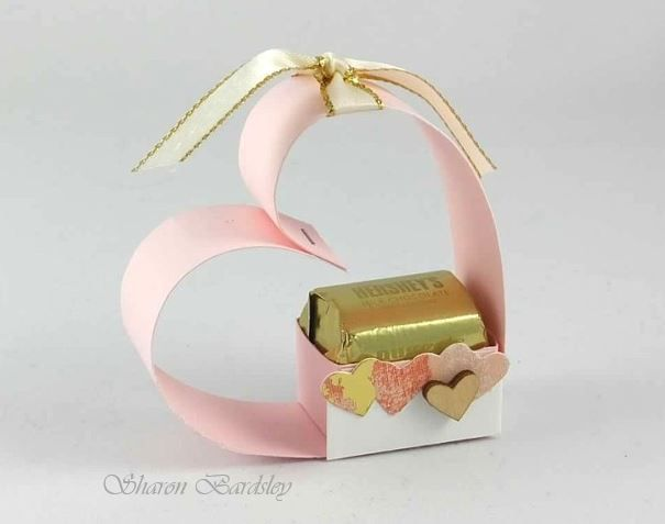 mini box that holds 2 Hershey Nuggets wrapped in a heart StampinUp Love Notes Framelits, Painted with Love Specialty DSP