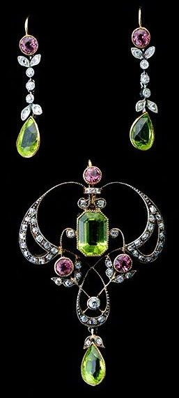Art Nouveau Peridot, Tourmaline And Diamond Suite, Mounted In Sterling Silver And 14k Yellow Gold