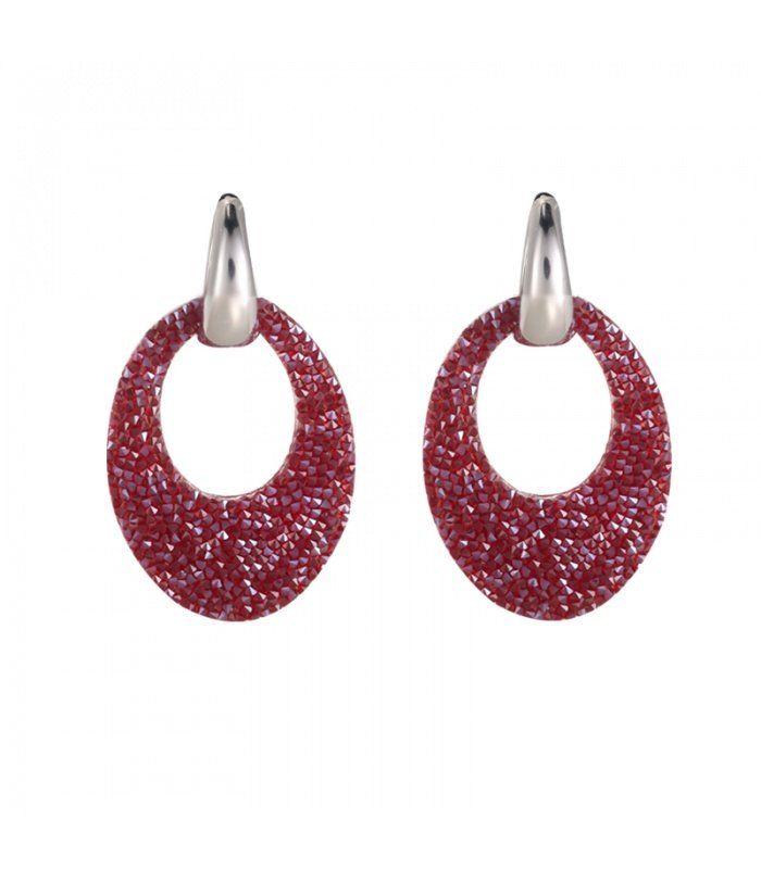 Zilverkleurige oorbellen met rode ovale hanger|De lengtes van de oorbellen zijn 4.50 cm | Yehwang fashion en sieraden
