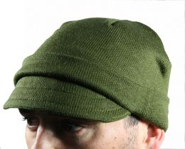 Brand new, Italian wool jeep cap. Very warm, excellent Military quality. Olive drab color, short brim. Very stylish and warm.
